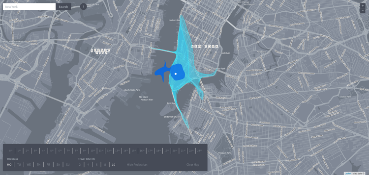 <p>The darker blue represents walking. (From Fast Company's offices in New York, I could walk halfway across the Hudson River in 10 minutes.)</p>