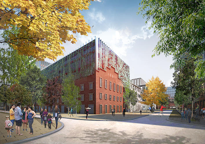<p>The design will reuse as much of the historic site as possible: Factory halls will turn into supermarkets and art galleries, old facades will be integrated into new buildings, and other new structures will be inspired by the memory of what once was there.</p>