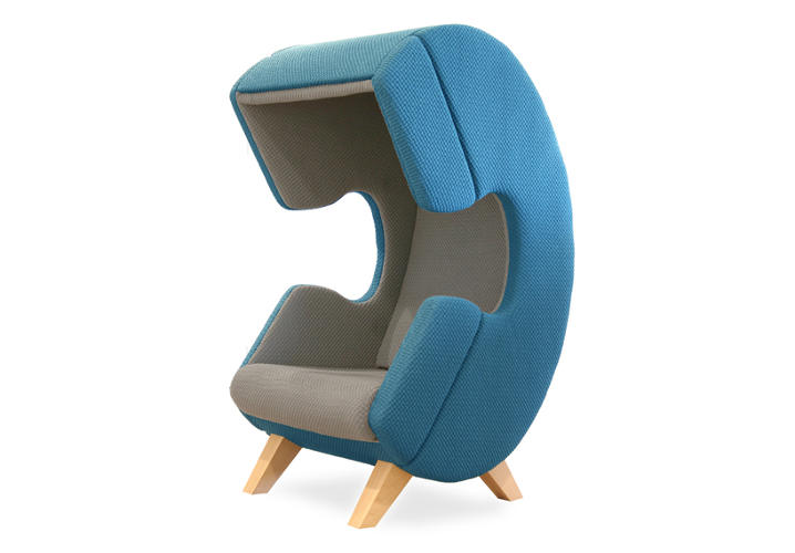 <p>The chair is the furniture equivalent of a Do Not Disturb sign, mostly because Van De Wier's creation--which has a special sound-absorbing upholstery--is shaped like a giant, cartoon phone.</p>