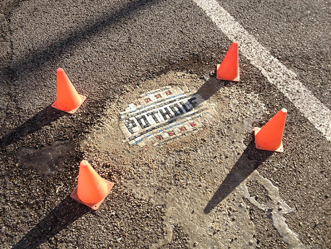 <p>The first time mosaic artist Jim Bachor fixed a pothole, it was under the cover of night.</p>