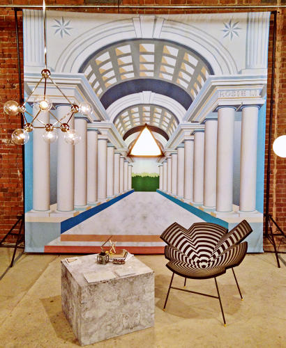 <p>Brooklyn-based <a href=&quot;http://www.rosieli.com/&quot; target=&quot;_blank&quot;>Rosie Li</a>'s stand at Sight Unseen channels the grandiose look of <a href=&quot;http://www.fastcodesign.com/3028986/milan-design-week-360-degrees-of-mooois-stellar-furniture-exhibit&quot; target=&quot;_self&quot;>Moooi's Milan exhibit</a>.</p>