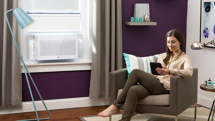 <p>Designed by Quirky member Garthen Leslie, the app-controlled Aros air conditioning unit is the result of a partnership between the social design startup and General Electric to produce and bring community-inspired smart products to market.</p>