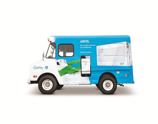 <p>Customers can order an Aros smart air conditioner via Uber's app for $300 (the same cost as retail), but Quirky will be making the deliveries--in a branded ice cream truck, no less.</p>