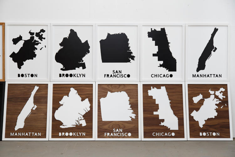 <p>Pop Chart Lab has a warehouse facility in Greenpoint, Brooklyn, where they build frames for posters.</p>