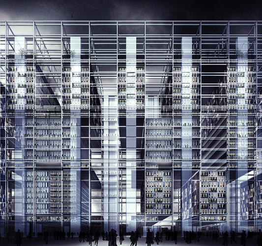 <p>Flex City is &quot;programmatically, infrastructurally, and contextually flexible&quot; to the inevitable changes of time. The architects propose a building whose infrastructure is separated from its use, allowing floor plates to be removed and spaces easily switched between residential, commercial and manufacturing spaces.</p>