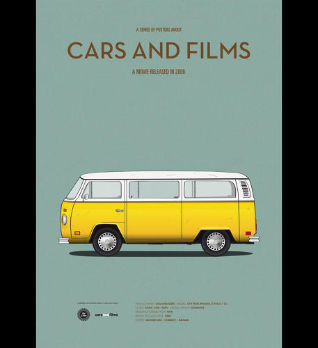 <p>Jesús Prudencio pulls out the iconic cars from movies and make them the stars of these posters.</p>