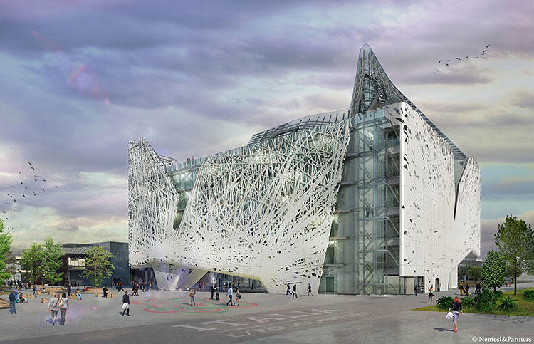 <p>Expanding on the forest theme, the building will also feature an ambitious canopy. The roof consists of a miniature solar farm, a set of solar panels that will generate energy for the building's interior during the day.</p>