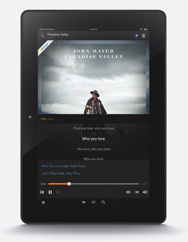 <p>When a song is playing, the Amazon Music app on Kindle tablets will display synchronized lyrics, a capability coming to other platforms later on this year, vice president of digital music Steve Boom said.</p>