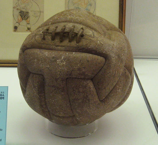 <p>The very first World Cup ball was leather, heavy, and ungainly.</p>