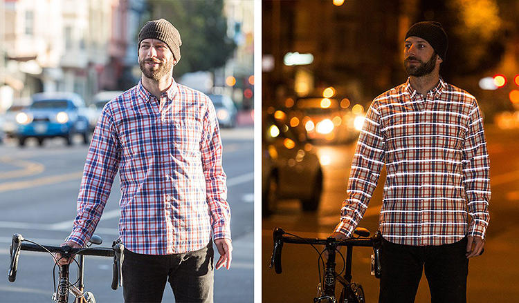 <p>Though all of the clothes have reflective patches, the plaid posed a special challenge. The retroreflective material, a thin film covered in nano-sized glass spheres, was sliced up into strips the size of yarn, making it even more fragile and hard to sew.</p>
