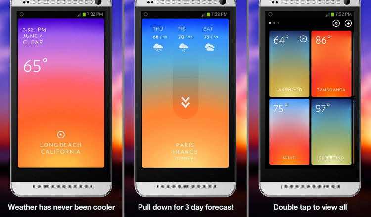 <p>Before you even get out of bed, check the weather with this beautifully designed, ad-free app. Slide around the simple screen to see weather and temperature. That's it. No extra info, just the weather.</p>