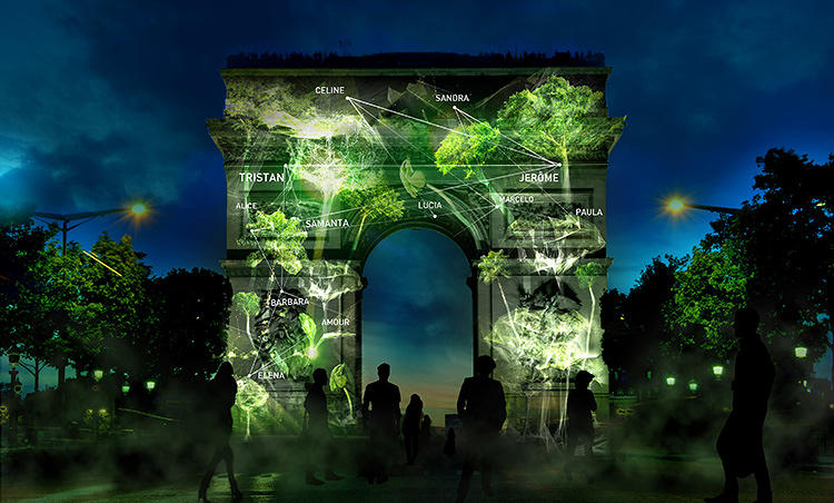<p>Planned for the big United Nations climate conference in Paris next year, Naziha Mestaoui's &quot;forests of light&quot; show is really two light shows in one.</p>