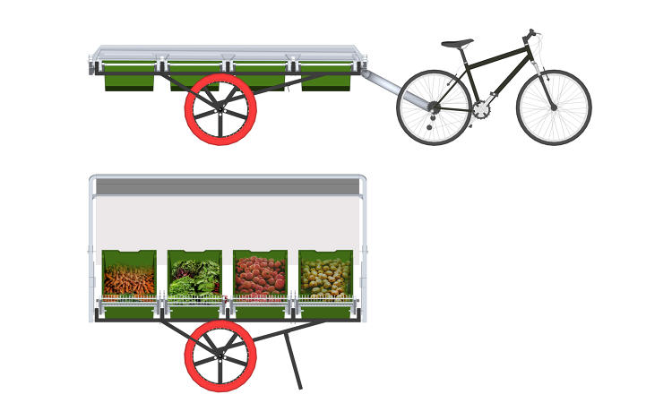 <p>Once the bike arrives at the market, the bicycle unhooks from the rest of the cart, the canopy swings up, and the produce bins are tilted for display.</p>