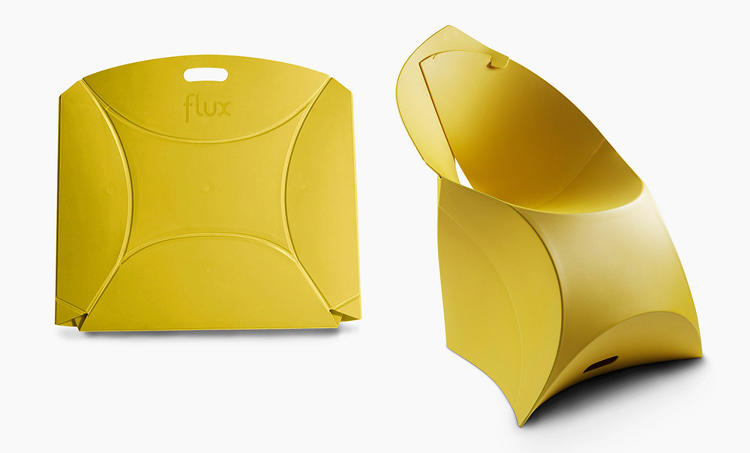 <p><a href=&quot;http://www.fastcodesign.com/1472994/flat-pack-magic-ten-amazing-folding-chairs&quot; target=&quot;_self&quot;>This chair</a>, called the Flux, is made of one sheet of plastic, and it locks into place like a cardboard to-go container. Unfolded, it's the size of a suitcase.</p>