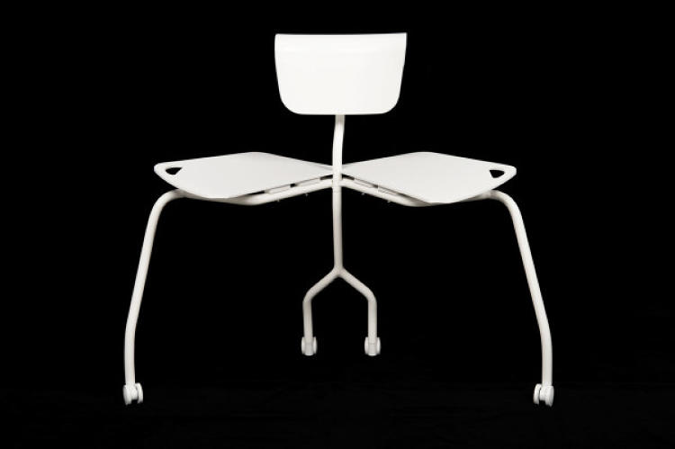 <p>The <a href=&quot;http://design-milk.com/please-take-seat-invitation-chair-alexander-bennett/&quot; target=&quot;_blank&quot;>Invitation Chair</a> from designer Alexander Bennett looks like a typical desk chair--maybe wider in the rump-rest than most--but it's actually much more than that. Well, literally twice as much: It swings open in the middle to become a two-seater bench.</p>