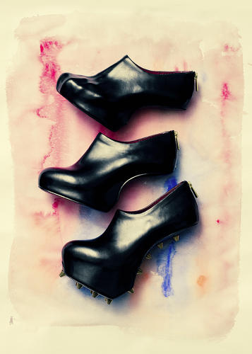 <p>Many of Goude's burnt-in-the-brain images are on display, as well as lithographs by Lynch and portraits by Wilson, as well as Tatehana's shoe sculptures (pictured).</p>