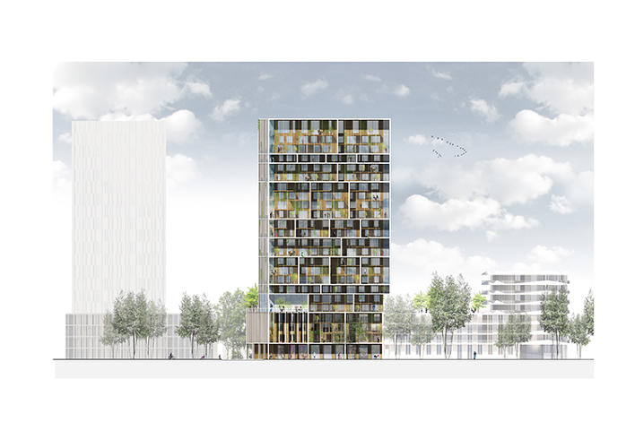 An apartment tower designed to help residents make friends for Terrace elevation designs