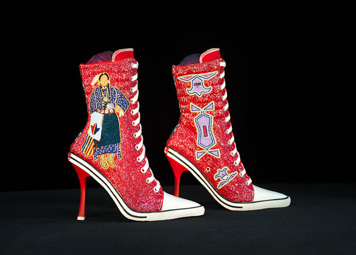 <p>By Teri Greeves<br /> Sante Fe, New Mexico<br /> 2014<br /> Beads on canvas high-heeled sneakers<br /> 11.5 x 10 x 4 in</p>
