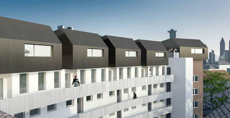 <p>A single story of lightweight apartments are added to a rooftop, and covered in enough solar panels to generate power for the entire building.</p>