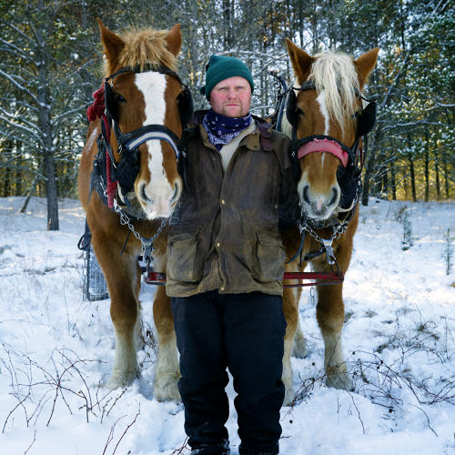 <p>Johnson Logging, Springbrook. Taylor Johnson is pictured with a pair of horses.</p>