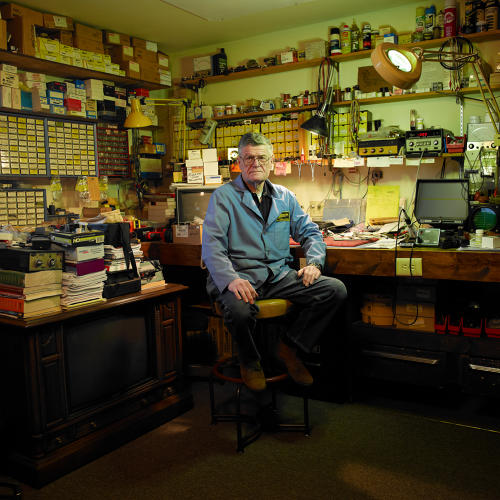 <p>Drees Electric, Marinette, established in 1946. Bill Meyst remembers when TVs were repaired instead of being dumped in landfills.</p>
