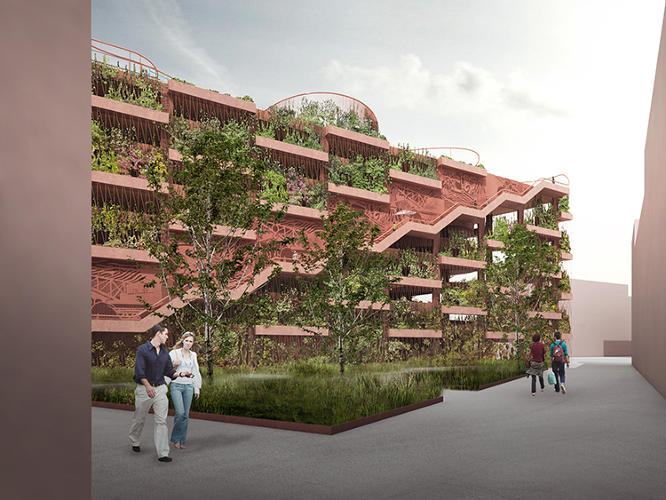 <p>A new garage intended near a new development by the waterfront is designed to double as a neighborhood park.</p>