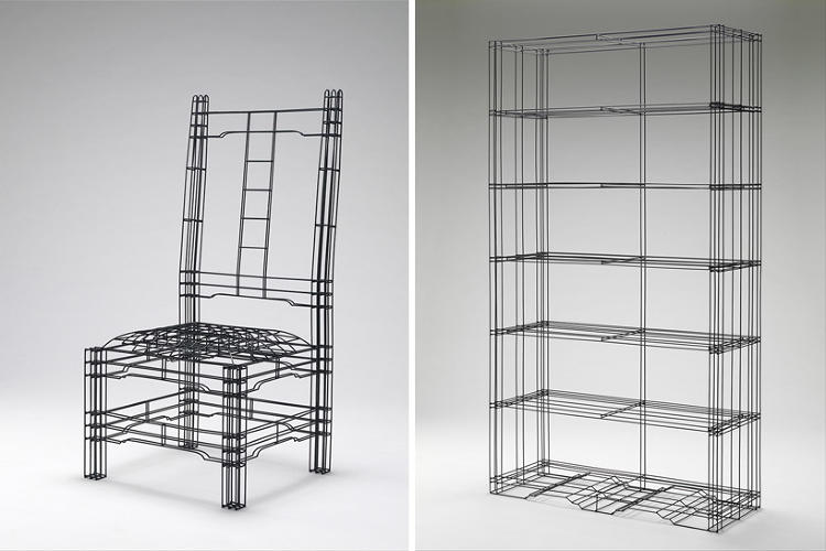 <p>Using 3mm black steel rods twisted and bent to resemble CAD wireframes, Noiz's series explores the geometry behind the design of more than just furniture.</p>