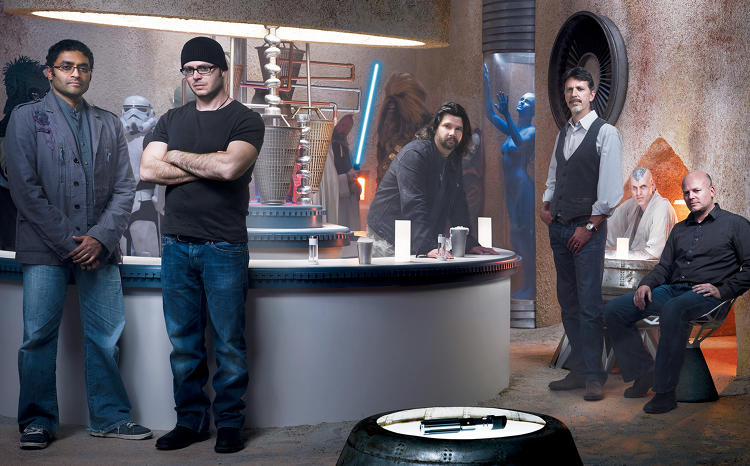 <p><u><strong>Freak Power:</strong></u> from Left, <strong>Naren Shankar</strong>, executive producer of CSI; <strong>Damon Lindelof</strong> cocreater of Lost; <strong>Ron Moore</strong>, creator of Battlestar Galactica; <strong>Tim Kring</strong>, Creator of <em>Heroes</em>; and Jesse Alexander, co-executive producer of <em>Heroes</em></p>