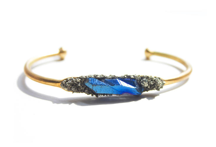<p>Blue quartz cuff from Milly &amp; Earl in Brooklyn</p>
