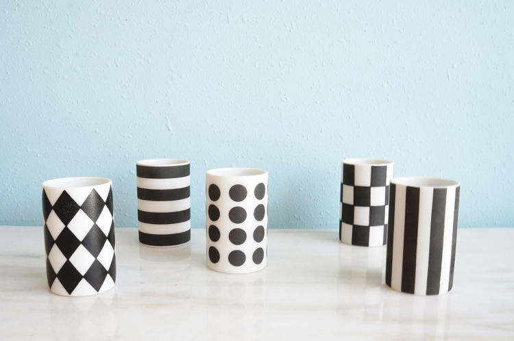 <p>Black and White Sake Cup from Mirth Marfa</p>
