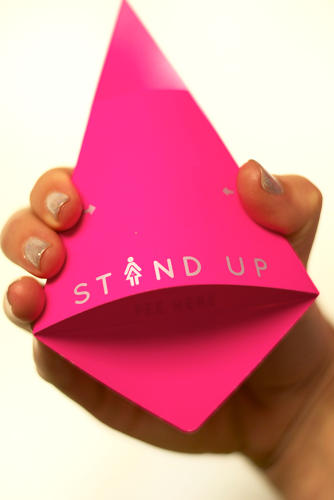 <p>Grossman is the inventor of Stand Up, a bright pink triangle that folds out, origami-style, into a funnel.</p>