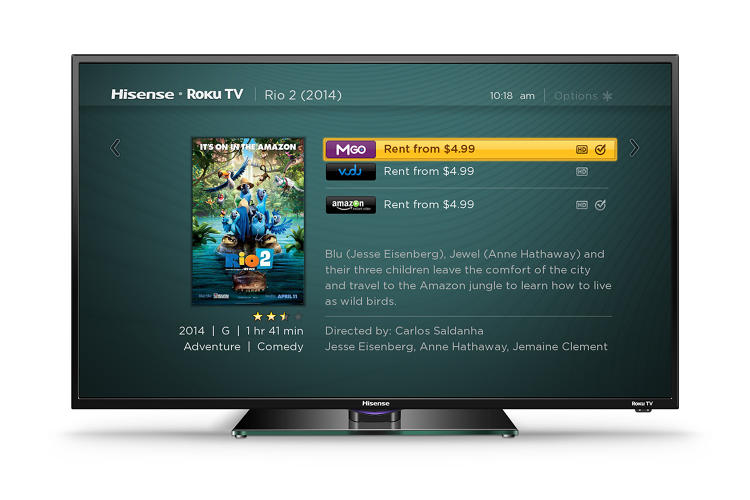 <p>Top-level search on Hisense's Roku-powered TV</p>