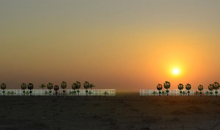 <p>OAXIS is a conceptual design for a modular set of prefab greenhouses, covered in solar panels, which would extend in a straight line into the desert away from a city.</p>