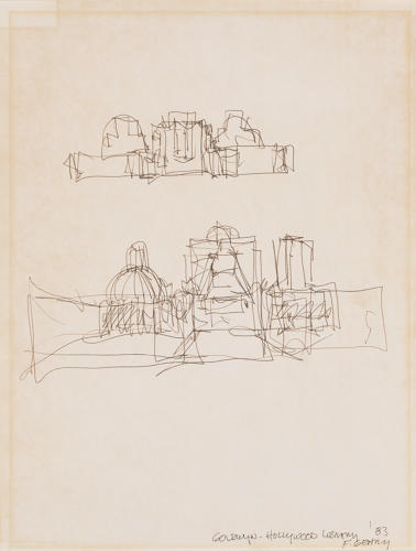 <p>Frank Gehry, Goldwyn-Hollywood Library, 1983. Sketch for built project. Pen and ink on paper, 10 5/8 x 8 1/8&quot;.</p>