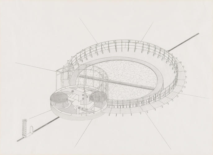 <p>Mary Miss, study for Untitled, Bedford Square, London, 1987. Isometric projection. Technical pen and ink and graphite on vellum paper, 18 11/16 x 24&quot;.</p>