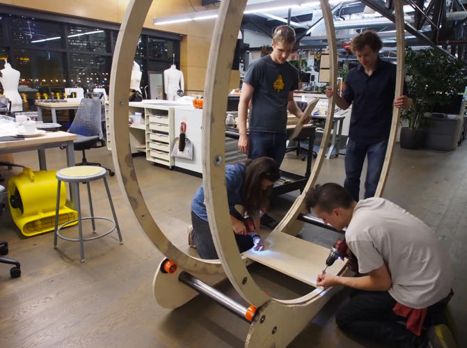 <p>Without a desk inside, the wheel can actually go a little too fast--in some early tests, the designers' friends accidentally flew out and fell down. But a desk brings the wheel under control.</p>