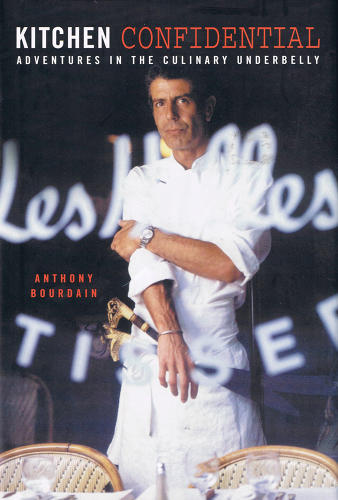 "<p>Bourdain is the author of six food tomes, including the best-selling <em>Kitchen Confidential</em> (pictured). He oversees an imprint, Anthony Bourdain Books, that has published works of nonfiction by authors such as L.A. chef Roy Choi, Internet-meme restaurant critic Marilyn Hagerty, and MMA fighter Mark ""Fightshark"" Miller.</p>"