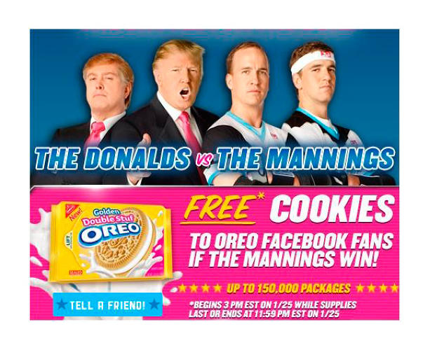 <p>Oreo launches the Double Stuf Racing League with Peyton and Eli Manning to create its own sport of competitive frosting licking. Mildly clever but mostly just noisy, especially as it grew to add Serena and Venus Williams, Donald Trump, and Shaquille O'Neal over the years.</p>