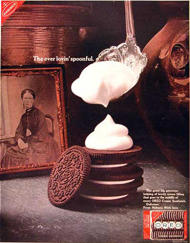 <p>Throughout the 1960s, Oreo ran print ads intimating that there's fresh whipped cream in between its wafer cookies. There is not, but it worked as a not-so-subtle influence on moms who may have felt guilty for giving their kids store-bought cookies rather than homemade.</p>