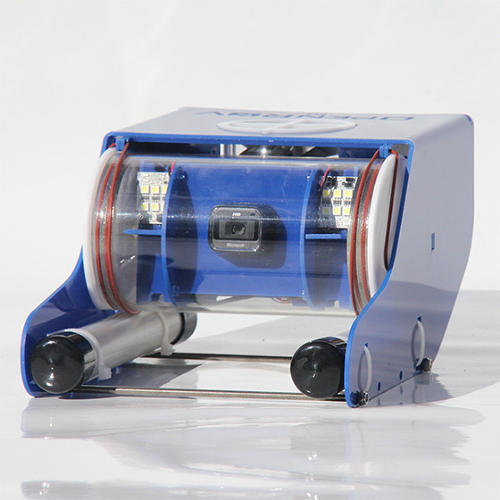 <p>OpenROV sells for around $800. Its blue body is laser cut from acrylic panels housing three thrusters (two horizontal, one vertical), an HD webcam, LED lights, and eight onboard batteries. The tiny package can dive about 300 feet and hits a top speed of about 2.2 mph during its 1.5 hour running time.</p>