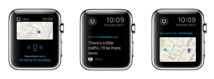 <p><strong>Uber</strong><br /> <em>Possibilities:</em> Voice command for requesting a car, real-time car tracking, quick notifications for messages from the driver.</p>  <p><em>How it will work: </em>As a time- and position-dependent application, Uber can take full advantage of the Watch's notifications to keep the user updated on a car's location and ETA. Users will be even more inclined to call an Uber on the Watch than on the iPhone.</p>