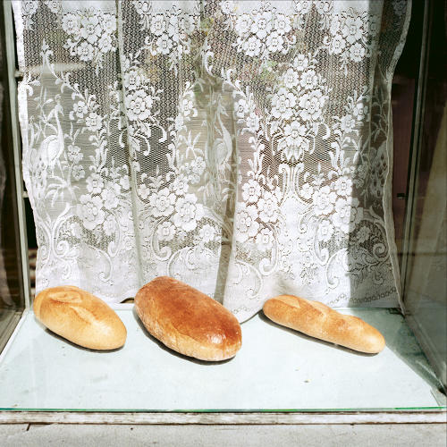 <p>Crakow, Poland, 1988, Three loaves of bread</p>