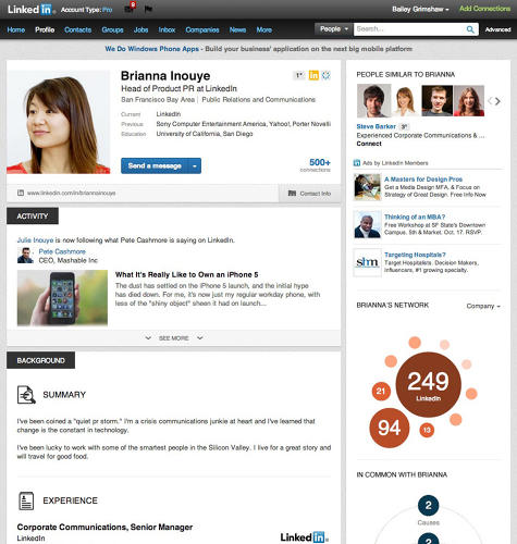 <p>LinkedIn: The social network for professionals.</p>