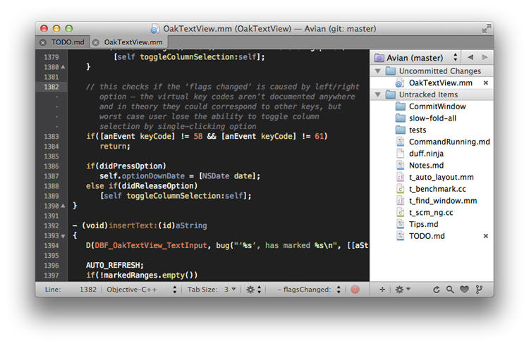 <p>Textmate: A graphical text editor for OS X, specializing in code and markup.</p>