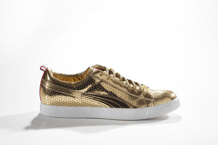<p>Puma Clyde x Undefeated Gametime Gold pays homage to the U.S. gold-medal-winning Olympic basketball team. Los Angeles-based design duo James Bond and Eddie Cruz included perforations on the uppers and red, white, and blue heel tabs.</p>  <p>PUMA Archives</p>