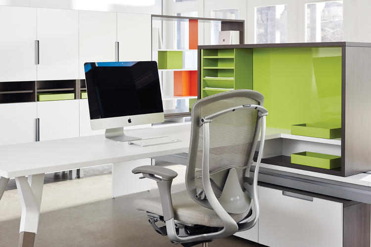 "<p>""Products with a rich material vocabulary provide designers with the opportunity to be original and bold—to use color and texture to create a more varied, inspiring and personalized work environment,"" Delfino says. For example, perforated metal creates sheers and is used to provide visual privacy between individual workstations.</p>"