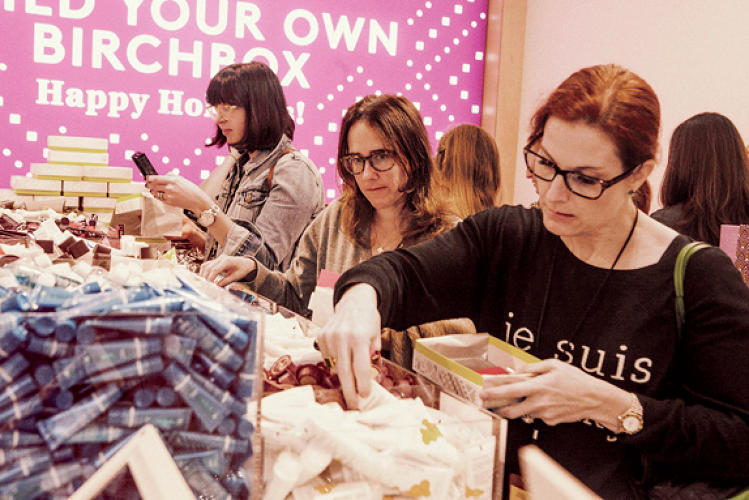<p>Makeup mavens build their own Birchboxes at its flagship store.</p>