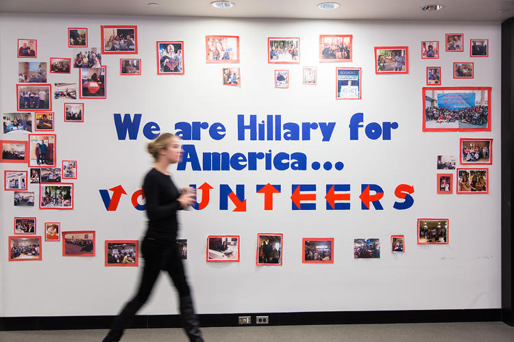 <p>Walls inside Hillary HQ are dedicated to different parts of their constituency.</p>