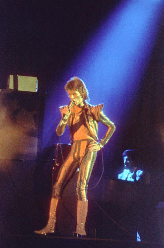 <p>With its flared shoulder pads, cherry platform boots, and sparkled jacket and pants, this was one of Bowie's first Ziggy &quot;space suits.&quot;</p>