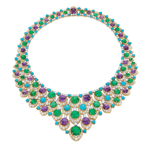 "<p>""Bib"" necklace and in gold with emeralds. Amethysts, turquoise and diamonds, 1965<br /> Bulgari Heritage Collection</p>"